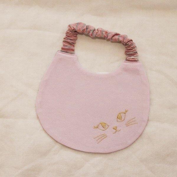 【nino】ねこ顔刺繍スタイ|ピンク