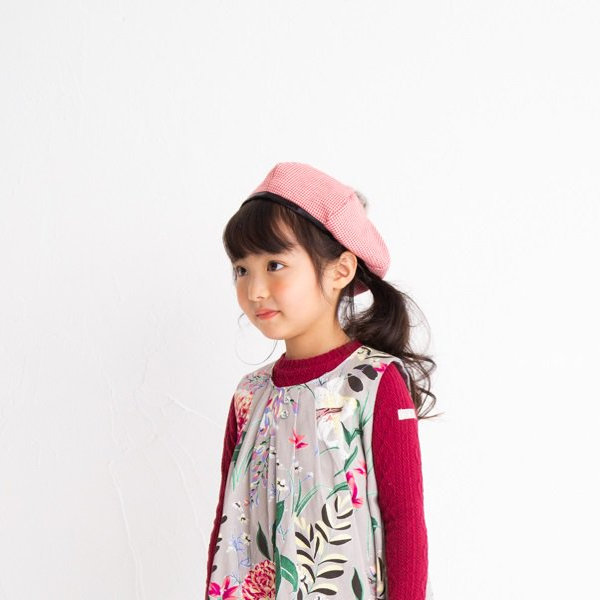 【nino】グレンチェックベレー帽|レッド