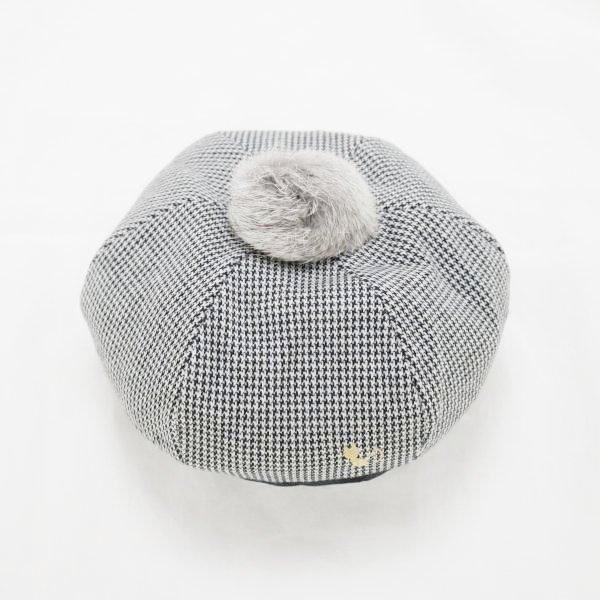 【nino】グレンチェックベレー帽|グレー