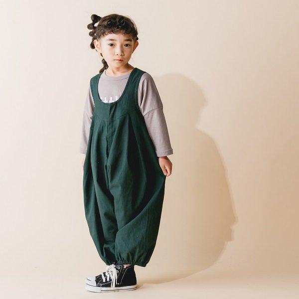 【nunuforme】ビッグパンツサロペット|グリーン|105-125cm