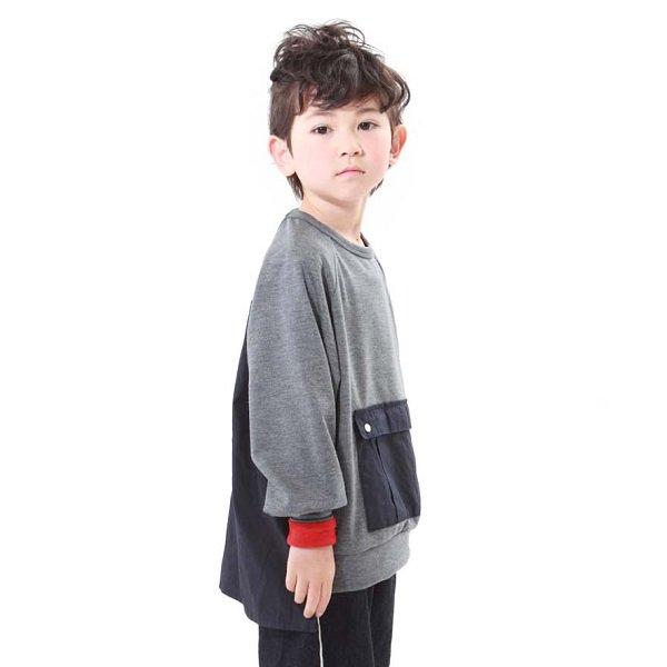 【MLP】square pocket スウェットシャツ|Hチャコール|90-150cm