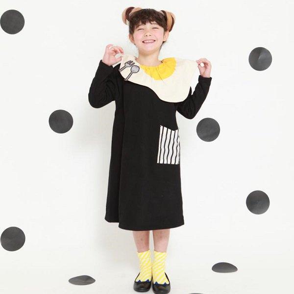 【UNICA】目玉焼き衿付きワンピース|ブラック|100-120cm