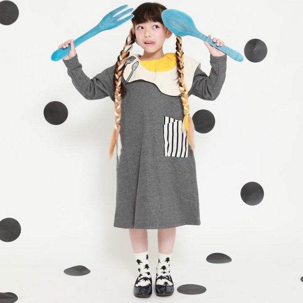 【UNICA】目玉焼き衿付きワンピース|チャコール|100-130cm