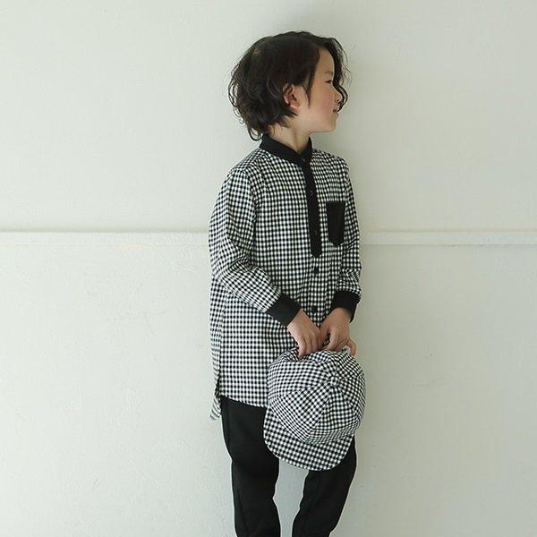 【maarook】ギンガムロングシャツ|クロ|90-120cm