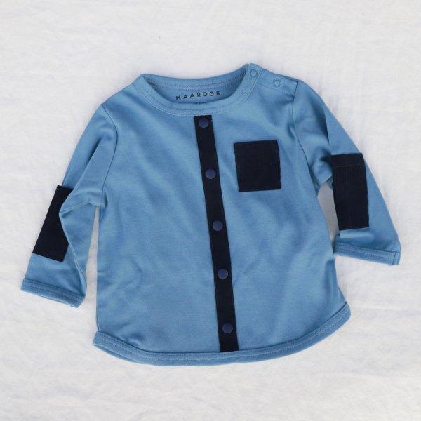 【maarook】スムースシャツ風Tシャツ|ブルー|80-120cm