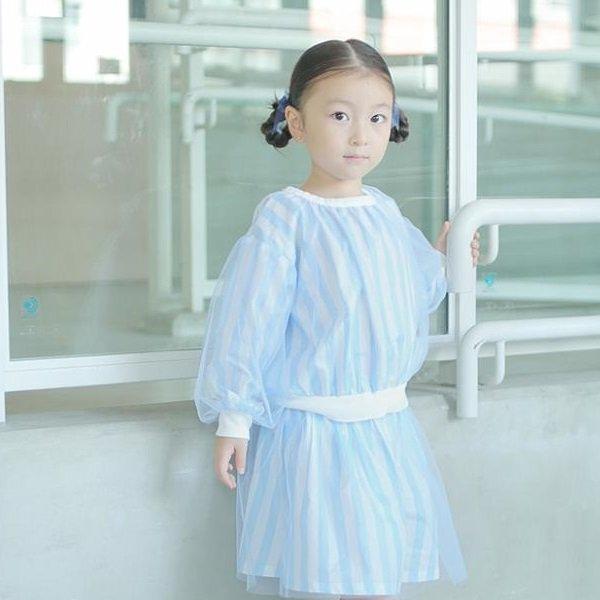 【maarook】ストライプチュールプルオーバー|ブルー|90-150cm、M