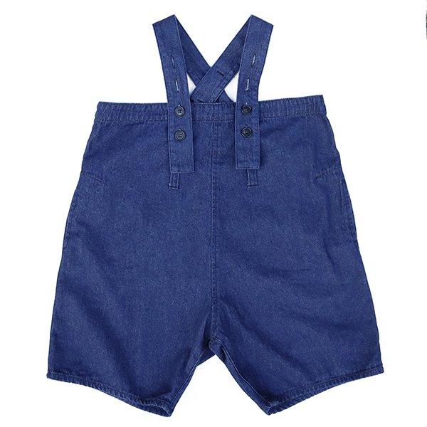 【nunuforme】デニムワイドサロペット|ワンウォッシュ|105-125cm、レディース