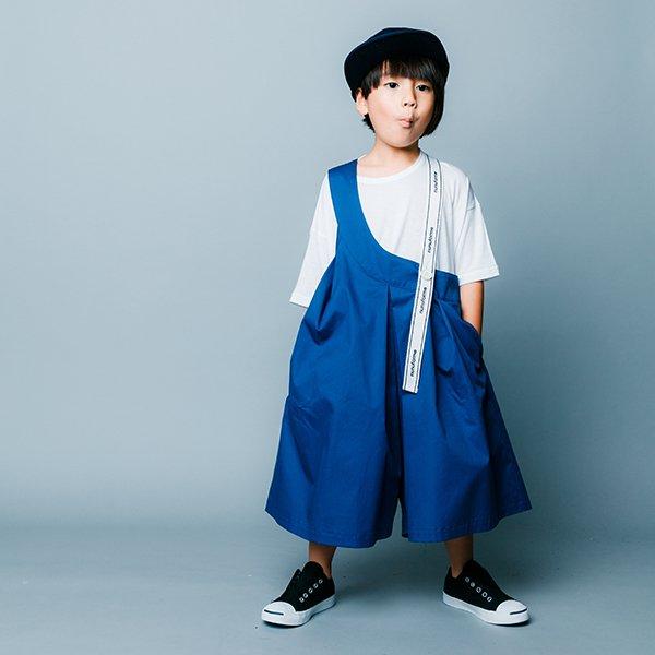 【nunuforme】ワンサイドテープサロペット|ブルー|105-125cm