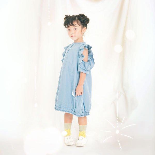 【MoL】SPARKLERワンピース|ブルーグレー|90-135cm