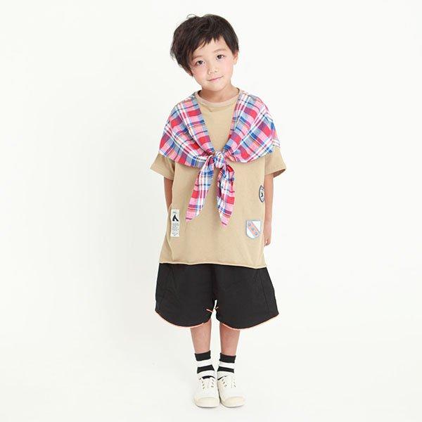【MoL】マドラスチェックストールTシャツ|ベージュ|90-150cm