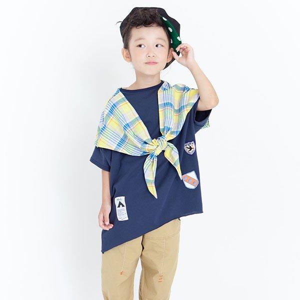 【先行予約】【MoL】マドラスチェックストールTシャツ|ネイビー|90-150cm、レディース