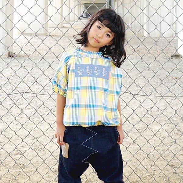 【先行予約】【MoL】マドラスチェックギャザーTシャツ|イエロー|90-150cm、レディース