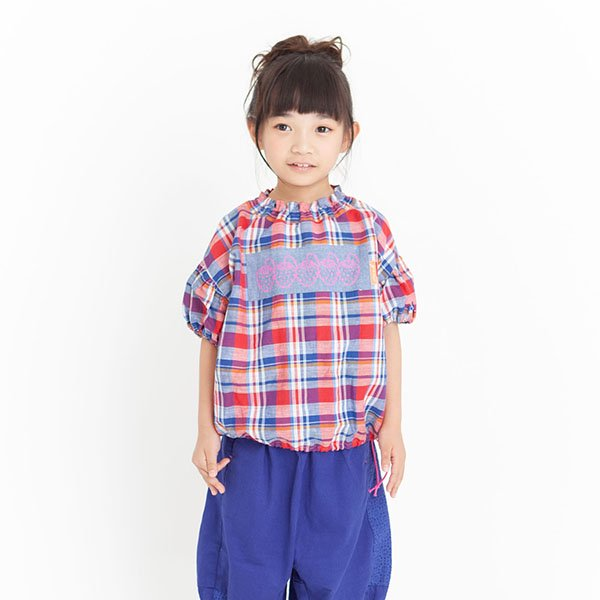 【MoL】マドラスチェックギャザーTシャツ|レッド|90-150cm