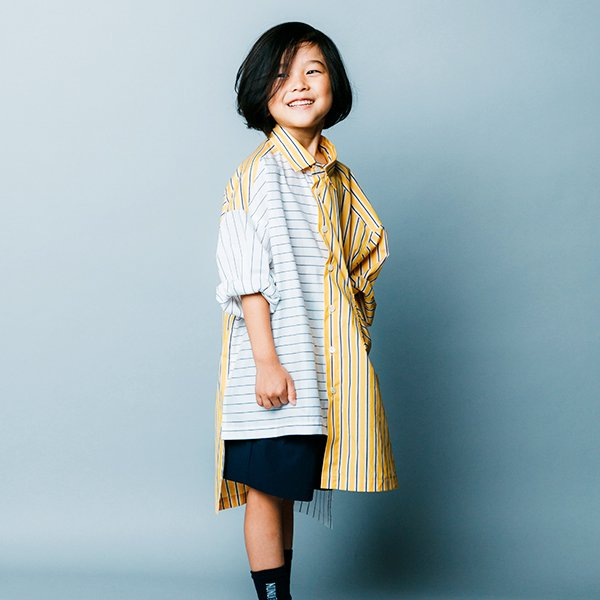 【nunuforme】ミックスロングシャツ|イエロー|105-125cm、レディース