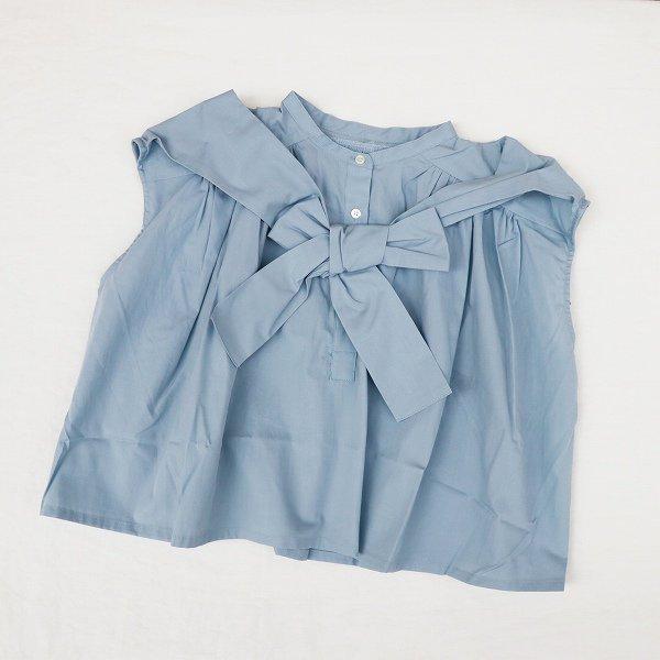 【nunuforme】ショルダーボウブラウス|ブルー|115-135cm