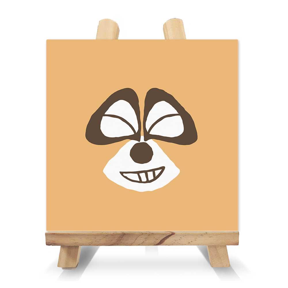 ぼのぼの スクエアキャンバス&イーゼルセット パステルフェイスシリーズ『アライグマくん 笑顔』