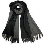 カシミアストール<br>リバーシブル ブラック&グレー<br>REVERSIBLE BLACK&GREY