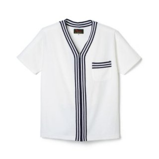 Stripe Zip Up Pile Shirt  White/Navy
