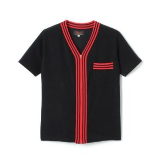 Stripe Zip Up Pile Shirt  Black/Red