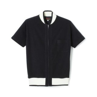 Zip Up Rib Pile Shirt  Black