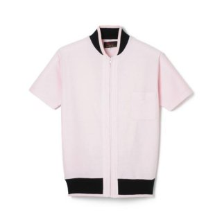 Zip Up Rib Pile Shirt  Pink