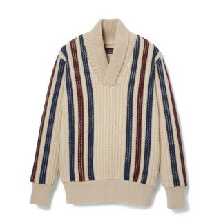 Stripe Shawl Collar Sweater  Cream