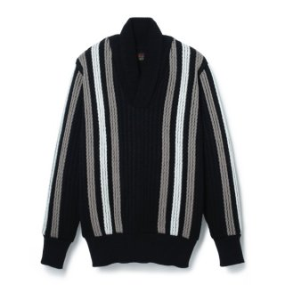 Stripe Shawl Collar Sweater  Black