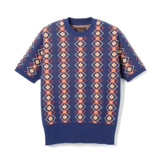 Argyle Cotton Knit  Navy