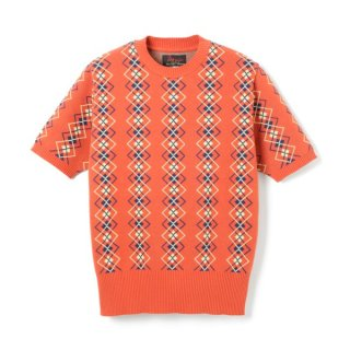 Argyle Cotton Knit  Orange
