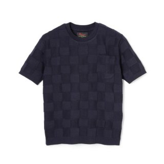 Block Knit  Black navy