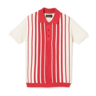 Stripe Knit Polo  Red-Ivory