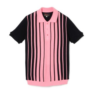 Stripe Knit Polo  Pink-Black