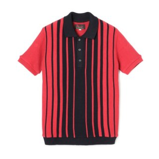 Stripe Knit Polo  Black-Red