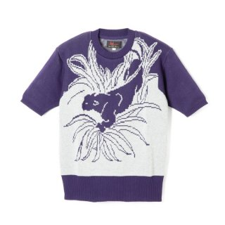 Panther Knit  Purple-Gray