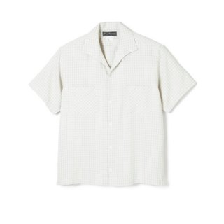 WINDOWPANE ITALIAN COLLAR RAYON SHIRT White