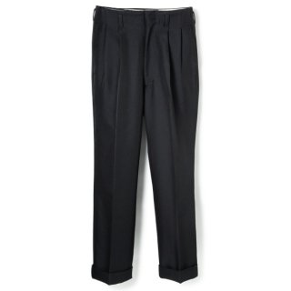 Side Pleats Pants Black