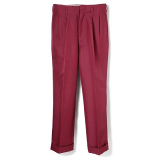 Side Pleats Pants Wine