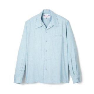 Round Collar Shirt Sax Blue