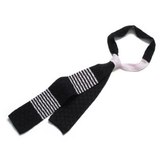 Knit Tie Black-Pink