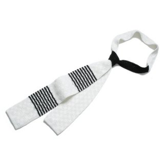Knit Tie White-Black