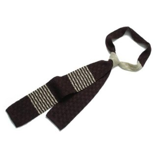Knit Tie Brown-Ivory