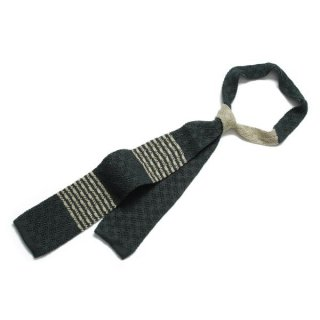 Knit Tie Green-Ivory