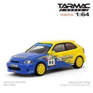 <img class='new_mark_img1' src='https://img.shop-pro.jp/img/new/icons29.gif' style='border:none;display:inline;margin:0px;padding:0px;width:auto;' />Tarmac Works 1/64 HOBBY64 Model Car - Honda Civic Type R EK9 Super Taikyu