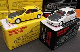 <img class='new_mark_img1' src='https://img.shop-pro.jp/img/new/icons24.gif' style='border:none;display:inline;margin:0px;padding:0px;width:auto;' />1/64 トミカリミテッド 香港限定 Honda Civic Type R EK9 97 & 99 カスタムバージョン2台組
