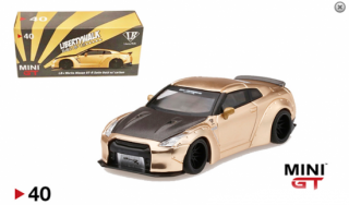<img class='new_mark_img1' src='https://img.shop-pro.jp/img/new/icons1.gif' style='border:none;display:inline;margin:0px;padding:0px;width:auto;' />MINI GT 1/64 NISSAN GT-R (R35) LB WORKS Duck Wing Satin Gold(Carbon Fiber Hood)静岡ホビーショー2019