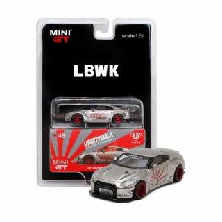 <img class='new_mark_img1' src='https://img.shop-pro.jp/img/new/icons1.gif' style='border:none;display:inline;margin:0px;padding:0px;width:auto;' />LBWK 1/64 Nissan GT-R R35 タイプ1  リアウイング バージョン2 サテンシルバー LBWKブリスター仕様(定形外郵便選択可)