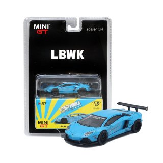 <img class='new_mark_img1' src='https://img.shop-pro.jp/img/new/icons1.gif' style='border:none;display:inline;margin:0px;padding:0px;width:auto;' />MINI GT LBWK 1/64 LB WORKS アヴェンタドール パールライトブルー LBWKブリスター仕様(定形外郵便選択可)