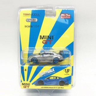 <img class='new_mark_img1' src='https://img.shop-pro.jp/img/new/icons1.gif' style='border:none;display:inline;margin:0px;padding:0px;width:auto;' />9月入荷 mijo限定 MINI GT 1/64 LB WORKS Nissan GT-R(R35)ライトブルー ハイリアウィング 無塗装 チェイス 左ハンドル(LHD)