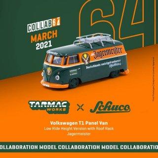 Tarmac Works × schuco 1/64 Volkswagen T1 Panel Van Jagermeister Low Ride Height with Roof Rack