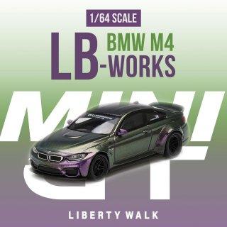 <img class='new_mark_img1' src='https://img.shop-pro.jp/img/new/icons12.gif' style='border:none;display:inline;margin:0px;padding:0px;width:auto;' />MINI GT 1/64 LB WORKS BMW M4 Purple-Green Metallic ブリスター仕様 (定形外郵便選択可)